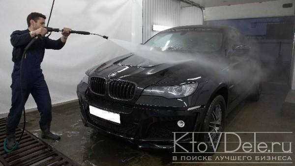 Процесс мойки автомобиля керхером