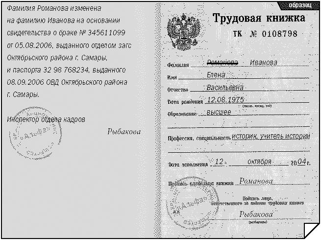 изменение фамилии в трудовой книжке
