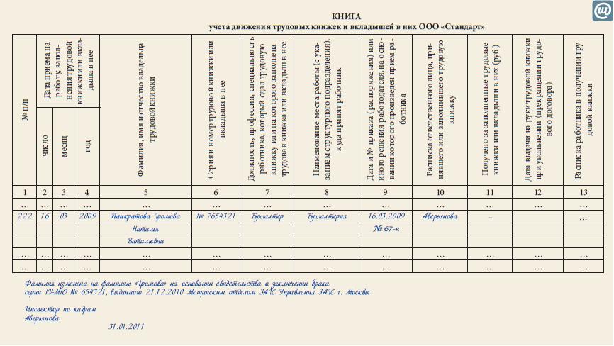 образец журнал учета и движения трудовых книжек - фото 9