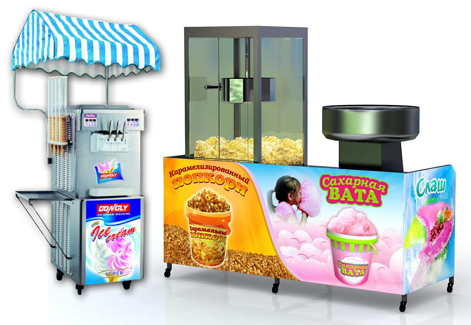 аппараты для сахарной ваты, попкорна, мороженого